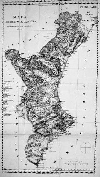 Plano del Reino de Valencia de 1795