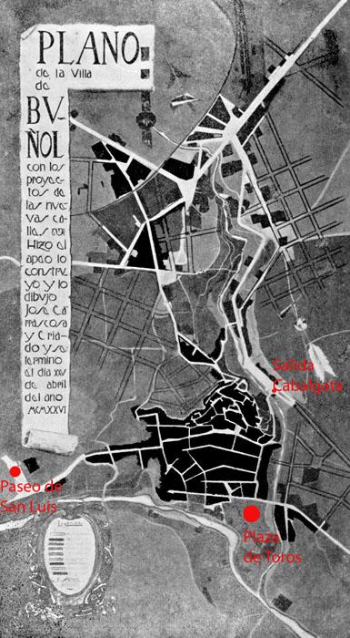 Plano de buñol 1926 con ubicación de la plaza de toros y salida de la cabalgata buñol
